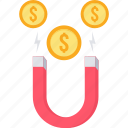 attract, attraction, client, dollar, finance, money icon
