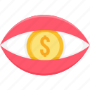 banking, dollar, eye, finance, money, revenue, vision icon