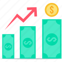 cash, dollar, high, increase, payment, rate, up icon