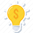 creative, dollar, electricity, idea, lightbulb, money, power icon