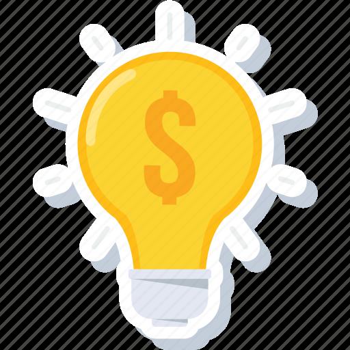 creative, dollar, electricity, idea, lightbulb, money, power icon