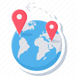 direction, distance, gps, location, map, navigation, shopping icon