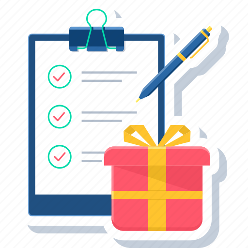 clipboard, gift, gifting, item, items, pen, present icon