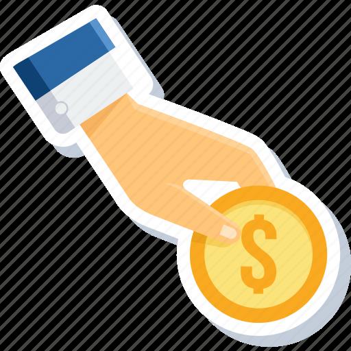 finance, gesture, hand, money, plan, revenue, sales icon