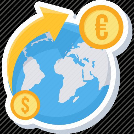 change, coin, convert money, dollar, euro, money, transfer icon