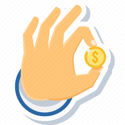 cash, coin, coins, finger, gesture, hand, touch icon