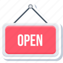 board, market, open, sign, store icon