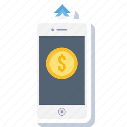 data, mobile, money, outgoing, payment, phone, smartphone icon
