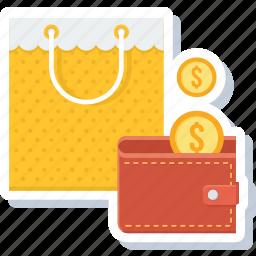 bag, cashback, money, save, shop, shopping, wallet icon