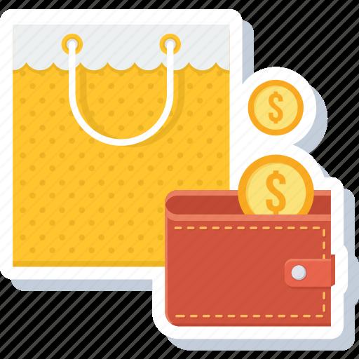 bag, cashback, guardar, money, save, shop, shopping, wallet icon