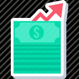 cash, finance, revenue, sale, sales, up icon
