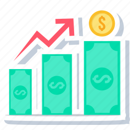 cash, currency, high, hike, increase, sales, up icon
