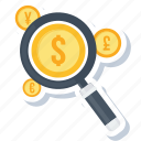 explore, finance, magnifier, optimization, revenue, search icon