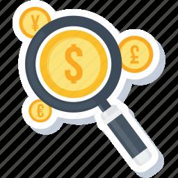 explore, finance, magnifier, optimization, revenue, search icon