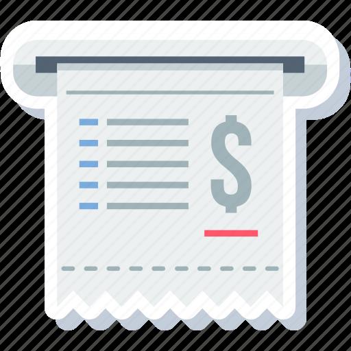 atm, bill, cash, invoice, memo, receipt, voucher icon