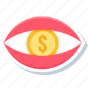 dollar, eye, finance, money, view icon
