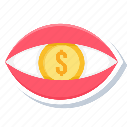 dollar, eye, finance, money, view icon