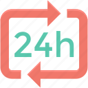 24 hour, all day shopping, always open, open 24hr icon