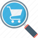ecommerce, online store, search, shopping cart icon