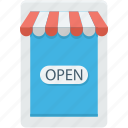 ecommerce, mobile store, online store, open store, web business icon