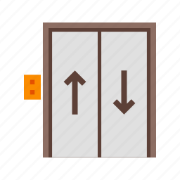 building, door, elevator, floor, lift, up, wall icon