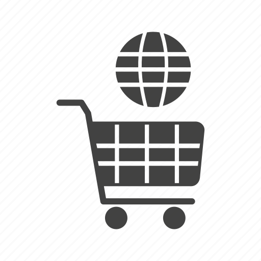 business, cart, global, market, mobile, online, shopping icon