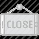 badge, business, close, shop, shopping