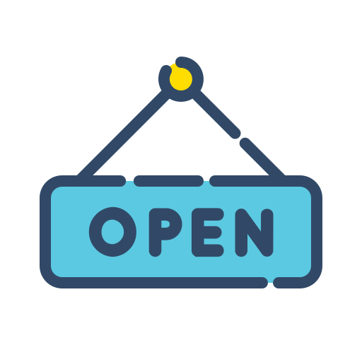 online, open, shop, shopping, sign icon
