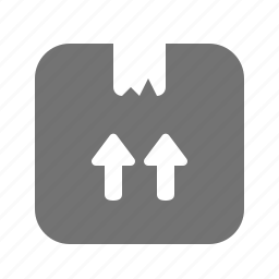 arrow, box, cardboard, delivery, package, shipping, up icon