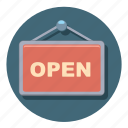 online, open, shop, sign, symbolism, warning icon
