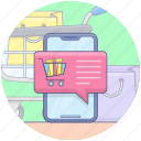 ecommerce, mobile chat, mobile notification, mobile shopping chat, offer notification, shopping chat icon