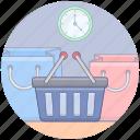 shopping bags, shopping bucket, shopping cart, shopping hour, shopping on time, shopping time icon