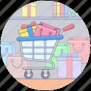 cart, handcart, pushcart, shopping cart, shopping trolley icon