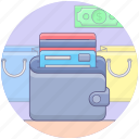 billfold, card payment, card wallet, shopping payment, wallet icon