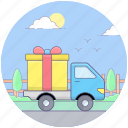 cargo delivery, delivery transport, delivery truck, ecommerce delivery, gift delivery, parcel delivery icon