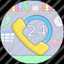 24 helpline services, customer help, customer services, customer support, helpline, on call services icon
