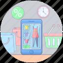 clothing ecommerce, mcommerce, online cloth shopping, online clothing, online fashion, online shopping icon