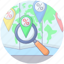 discount monitoring, sale monitoring, searching discount, searching sale, searching shopping, shop location icon