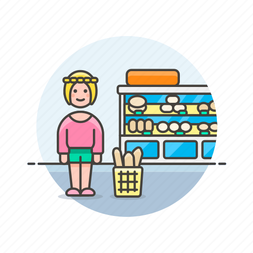 bakery, basket, bread, buy, shopping, store, woman icon