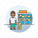 bakery, basket, bread, buy, man, shopping, store icon