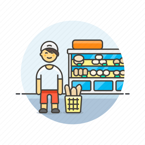 bakery, basket, bread, buy, man, shopping, store icon