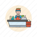 cashier, convenience, man, shopping, store, supermarket icon