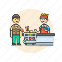 cart, cashier, checkout, man, shopping, store, supermarket icon