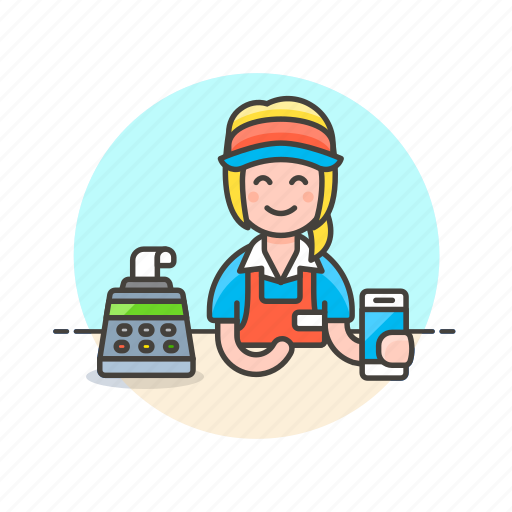 apple, cashier, pay, shopping, smartphone, store, woman icon