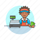 cash, cashier, man, money, pay, shopping, store icon