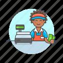 cash, cashier, man, money, pay, shopping, store icon