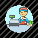 cash, cashier, checkout, man, money, pay, shopping, store icon