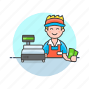 cash, cashier, checkout, man, money, pay, shopping, store icon