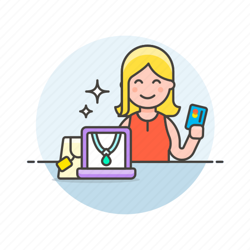 card, credit, jewelry, pay, shopping, store, woman icon