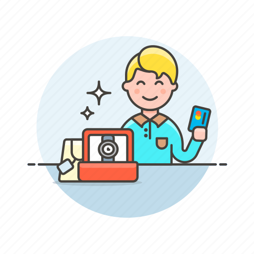 buy, card, credit, man, pay, shopping, store, watch icon